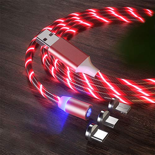 JPY 3 in 1 Magnetic Glowing USB Cable 1 m Lightning Cable with box packing